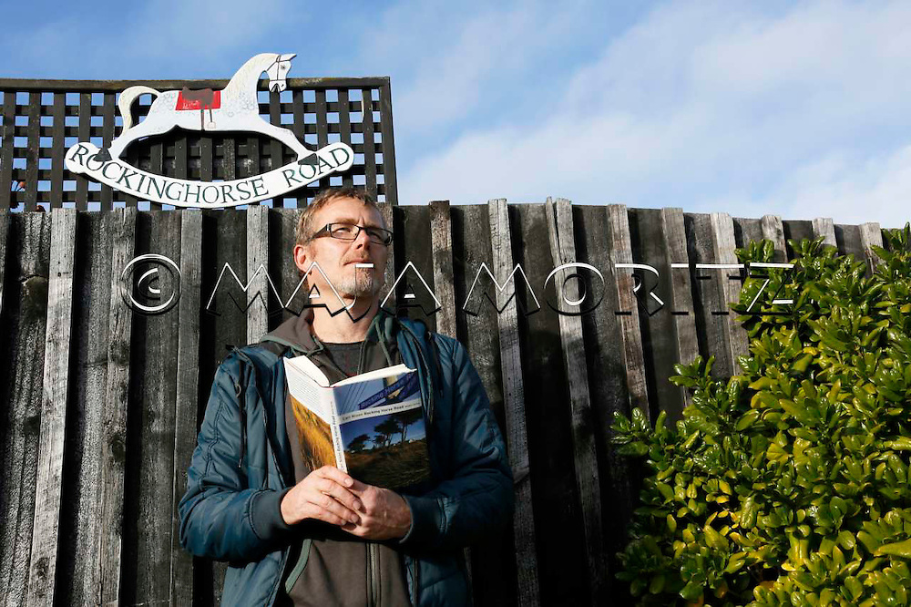 Carl Nixon in Rocking Horse Road which also is the title of his latest novel, Rocking Horse Road, Christchurch, New Zealand