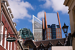 Contrast of old and new buildings in centre of The Hague in The Netherlands