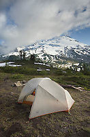 Backcountry campsite on park Butte, Mount Baker Wilderness, North Cascades Washington