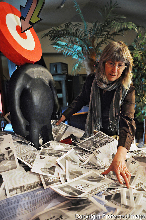 Ian Stewart/Yukon News<br /> Linda Leon recycled Conservative Party of Canada mailers into protest art for her show, PROUD, The Re-branding of Canada, on display at the Guild Hall in Porter Creek.