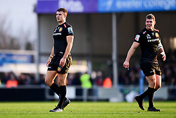 Ollie Devoto of Exeter Chiefs and Ian Whitten of Exeter Chiefs - Mandatory by-line: Ryan Hiscott/JMP - 29/12/2019 - RUGBY - Sandy Park - Exeter, England - Exeter Chiefs v Saracens - Gallagher Premiership Rugby