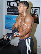 Picture by Alan Stanford/Focus Images Ltd +44 7915 056117<br /> 30/09/2013<br /> Anthony Joshua warms up with some skipping before his media workout at Gator ABC, Hainault, Essex..