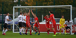 NEWPORT, WALES - Monday, October 14, 2019: Wales' Cameron Evans celebrates scoring the first goal during an Under-19's International Friendly match between Wales and Austria at Dragon Park. Wales won 2-0. (Pic by David Rawcliffe/Propaganda)