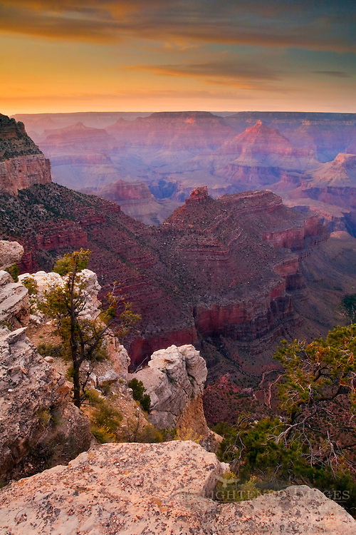 Sunset on the South Rim near Grand Canyon Village, Grand Canyon National Park, Arizona
