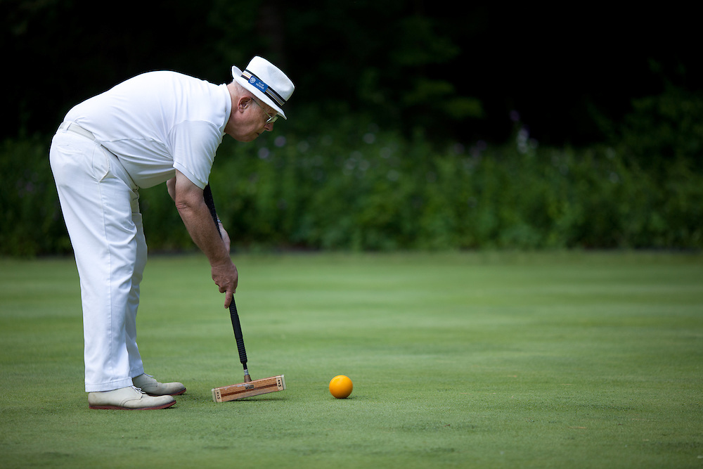Henry Vaughan of Yarmouth ME plays in the Berkshire Invitational tournament at the Lenox Croquet Club in Lenox, MA on June 10, 2011. (Matthew Cavanaugh / For The Boston Globe Magazine)