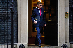 © Licensed to London News Pictures. 08/03/2017. London, UK. Chief Whip of the Conservative Party GAVIND WILLIAMSON MP leaves Downing Street following a cabinet meeting before British chancellor Philip Hammond delivers his 2017 Budget to Parliament. Photo credit: Ben Cawthra/LNP