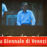 VENICE, ITALY - JUNE 03:  A vieo showing Vittorio Sgarbi is seen ahead of  the conference for the opening of the Italian pavillion at the 54th Venice Biennale on June 3, 2011 in Venice, Italy. his year's Biennale is the 54th edition and will run from June 4th until 27 November.