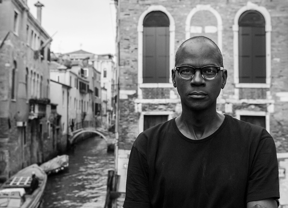 Venice, Italy. Mark Bradford poses for a portrait session for La Design of Los Angeles Times before the opening of his new exhibition for Biennale Arte 2017 as representative of USA. © Simone Padovani