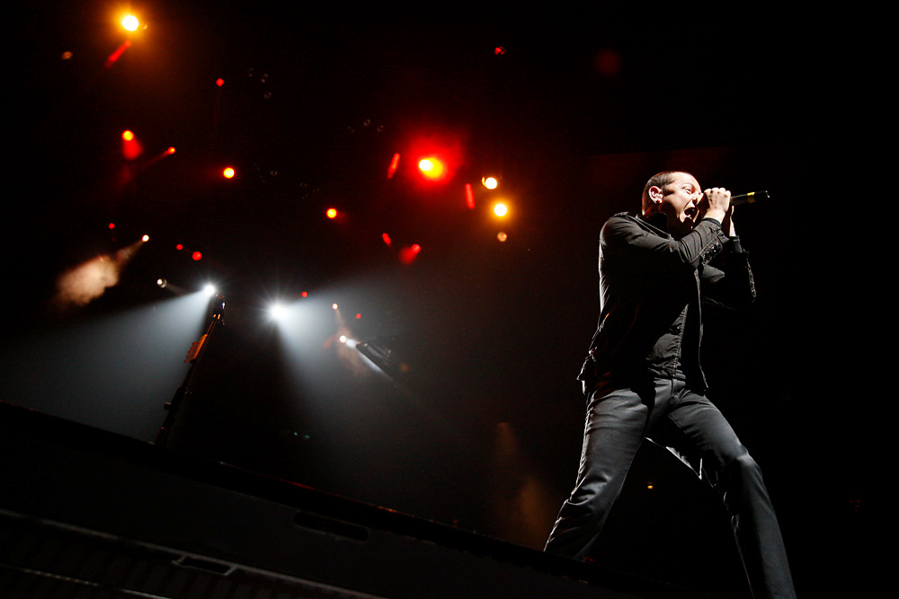 Linkin Park's lead singer Chester Bennington pictured onstage during the band's concert at Madison Square Garden on February 21, 2008 in New York City.