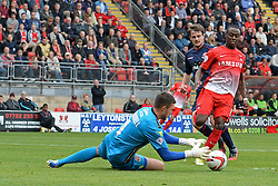 Walsall's Richard O'Donnell makes a save at the feet of Leyton Orient's Moses Odubajo    - Photo mandatory by-line: Mitchell Gunn/JMP - Tel: Mobile: 07966 386802 29/09/2013 - SPORT - FOOTBALL -  Matchroom Stadium - London - Leyton Orient v Walsall - Sky Bet League One