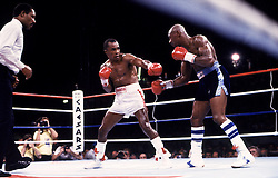 6 Apr 1987:  Sugar Ray Leonard, left, battles Marvin Hagler during their bout at Caesars Palace in Las Vegas, Nevada.  Leonard won the fight with a 12 round decision..Mandatory Credit:  Manny Millan/Icon SMI