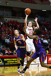 01 January 2012:  Jamie Russell takes a pull up jumpshot surprising Jordan Lewis during an NCAA women's basketball game between the Evansville Purple Aces and the Illinois Sate Redbirds at Redbird Arena in Normal IL