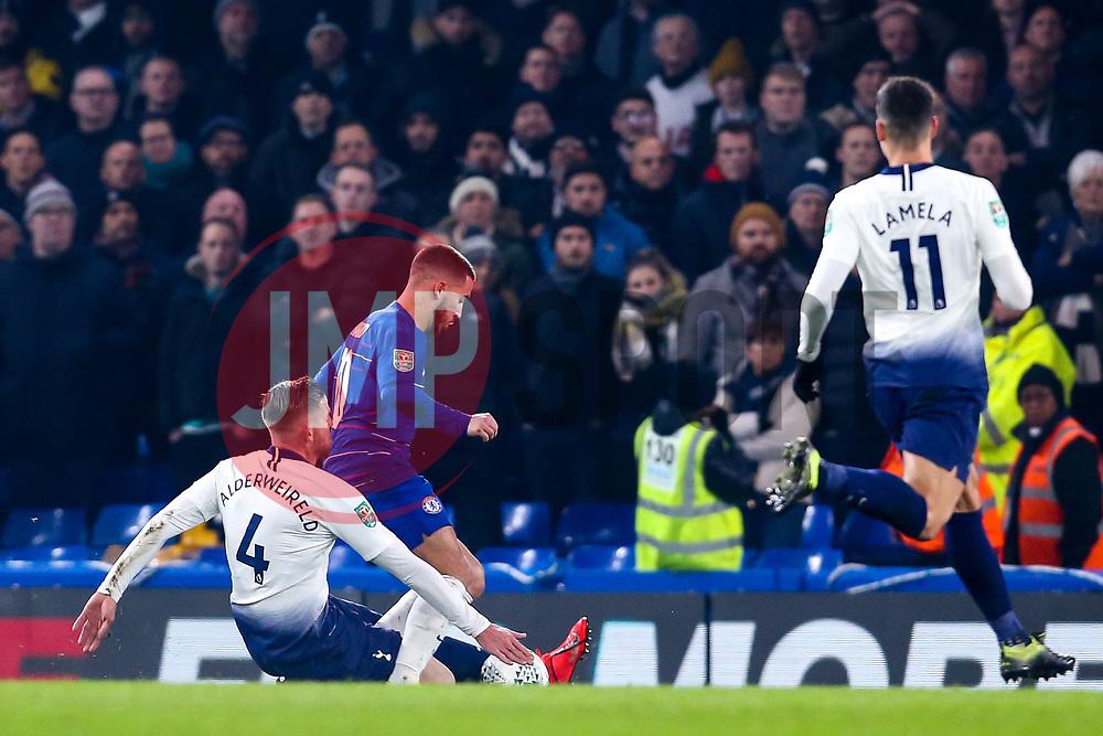 Eden Hazard of Chelsea is tackled by Toby Alderweireld of Tottenham Hotspur - Mandatory by-line: Robbie Stephenson/JMP - 24/01/2019 - FOOTBALL - Stamford Bridge - London, England - Chelsea v Tottenham Hotspur - Carabao Cup
