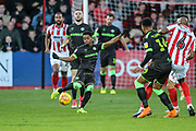 Forest Green Rovers Reece Brown(10) clears the ball during the EFL Sky Bet League 2 match between Cheltenham Town and Forest Green Rovers at Jonny Rocks Stadium, Cheltenham, England on 29 December 2018.