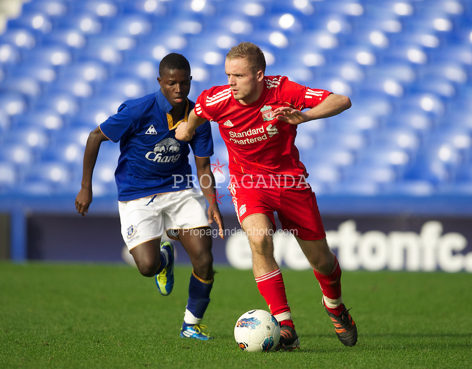LIVERPOOL, ENGLAND - Tuesday, March 6, 2012: Liverpool's Ryan McLaughlin in action against Everton during the FA Premier Reserve League match at Goodison Park. (Pic by David Rawcliffe/Propaganda)