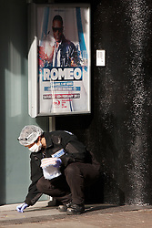 © Licensed to London News Pictures.  15/02/2012. LUTON, UK. Blood is spread over a large area outside a row of clubs in Luton after a fight broke out early this morning (Wed) after a Valentine's Day event. Over 100 people are thought to have been involved. Two people were stabbed and three police officers injured. Photo credit :  Cliff Hide/LNP