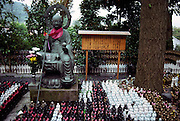Travelling Japan: buddhist culture, temples and rituals. Small Monk-figures at Hase Kannon Temple in Kamakura. The Hase Kannon Temple or Hasedera, located on a hill in Kamakura with a sweeping view of the sea, is home of a giant statue of Kannon, the goddess of mercy. According to tradition, the site of the temple was chosen by Kannon herself. © Romano P. Riedo