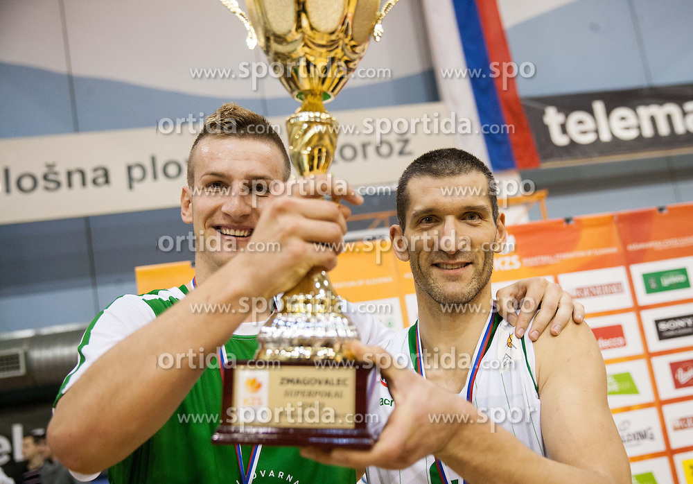 Alen Omic of Union Olimpija and Dragisa Drobnjak of Union Olimpija celebrate after winning during Super Cup 2013 basketball match between KK Krka and KK Union Olimpija before new season 2013/14 on October 2, 2013 in Sports hall Lucija, Portoroz, Slovenia. Union Olimpija defeated Krka 63-60 and became Super Cup Champion 2013. (Photo by Vid Ponikvar / Sportida.com)