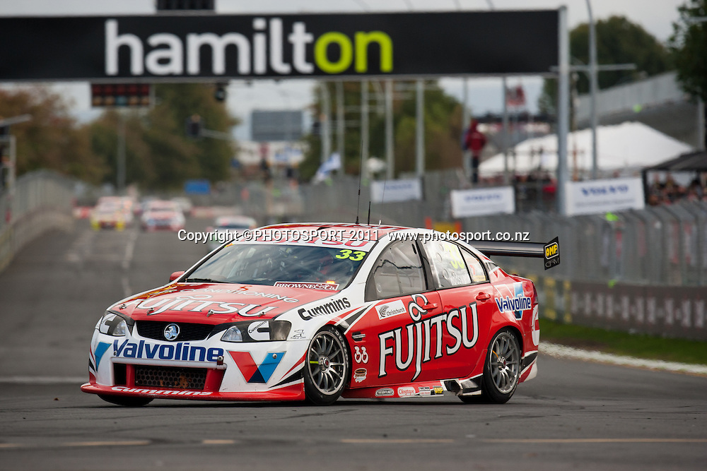 Lee Holdsworth, who finished second, at the top of the main straight during the main race on day three of the ITM 400 Hamilton V8 Supercars on the street circuit in Frankton, Hamilton, New Zealand. Sunday 17 April 2011. Photo: Stephen Barker/PHOTOSPORT