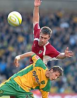 Photo: Ashley Pickering.<br /> Norwich City v Bristol City. Coca Cola Championship. 20/10/2007.<br /> David Noble of Bristol (red) and Rossi Jarvis of Norwich