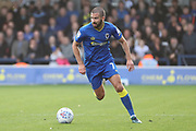AFC Wimbledon defender George Francomb (7) dribbling during the EFL Sky Bet League 1 match between AFC Wimbledon and Plymouth Argyle at the Cherry Red Records Stadium, Kingston, England on 21 October 2017. Photo by Matthew Redman.