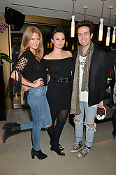 Left to right, MILLIE MACKINTOSH, GIZZI ERSKINE and NICK GRIMSHAW at the launch of Broadgate Circle, City of London on 9th June 2015.