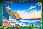 Mural of the Na Pali Coast, Hanalei, Island of Kauai, Hawaii