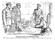 "Technicalities of Demobilisation. Officer. ""What are these men's trades or callings, sergeant?"" Sergeant. ""Slosher, slabber and wuzzer, sir."""