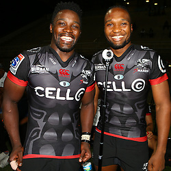 Lwazi Mvovo of the Cell C Sharks with Lukhanyo Am of the Cell C Sharks during The Cell C Sharks Pre Season warm up game 2 Cell C Sharks A and Toyota Cheetahs A,at King Zwelithini Stadium, Umlazi, Durban, South Africa. Friday, 3rd February 2017 (Photo by Steve Haag)