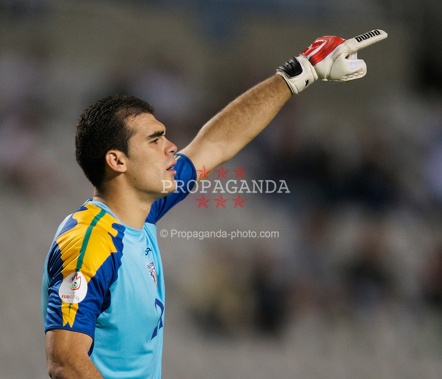 Nicosia, Cyprus - Saturday, October 13, 2007: Cyprus' goalkeeper Antonis Georgallides during the Group D UEFA Euro 2008 Qualifying match against Wales at the New GSP Stadium in Nicosia. (Photo by David Rawcliffe/Propaganda)