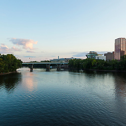 The Connecticut River at dusk in Hartford, Connecticut.