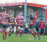 Harri Does takes the restart.<br /> <br /> Photographer: Dan Minto<br /> <br /> Indigo Welsh Premiership Rugby - Round 12 - Llandovery RFC v Carmarthen Quins RFC - Saturday 28th December 2019 - Church Bank, Llandovery, South Wales, UK.<br /> <br /> World Copyright © Dan Minto Photography<br /> <br /> mail@danmintophotography.com <br /> www.danmintophotography.com