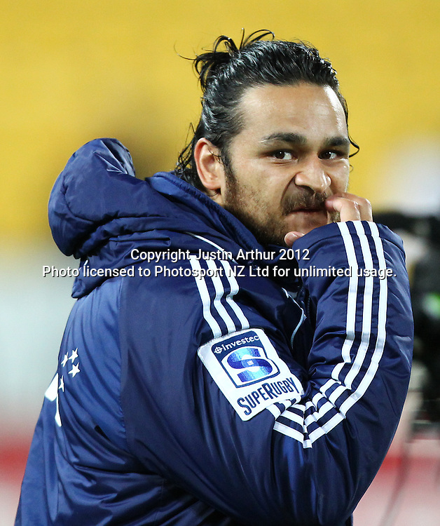 A dejected Piri Weepu during the 2012 Super Rugby season, Hurricanes v Blues at Westpac Stadium, Wellington, New Zealand on Friday 4 May 2012. Photo: Justin Arthur / photosport.co.nz