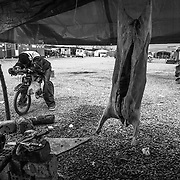 A sheep carcass hanged, ready to be cooked; the tent camp of Rosarno is a sort of village, people that can, sell to the others some services as food, drinks, bycicle repair, hot water when the electricity is down, and other services