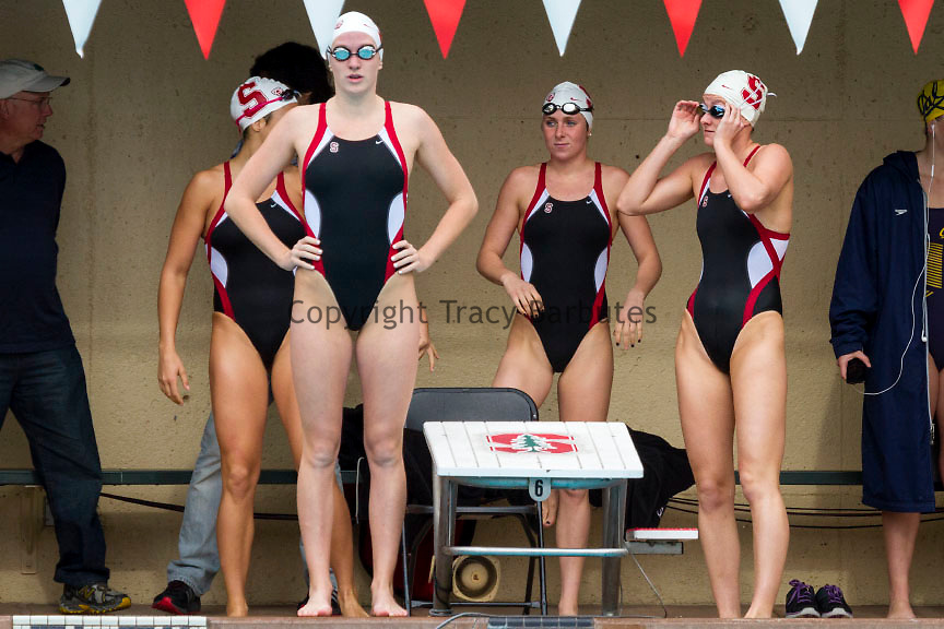 The Stanford University women's swim team readies for the first event of the meet - a relay.