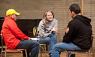 Dr. Missy Reynolds (center) talks to prospective students about the wellness program during an open house at Waldorf College in Forest City, Iowa on Saturday, May 14, 2011.