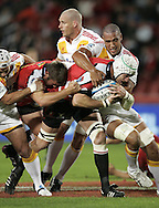 JOHANNESBURG, SOUTH AFRICA - 23 April 2011: Wikus van Heerden and JC Janse van Rensburg of the Lions drive against the Chiefs during the Super Rugby Match between the MTN Lions and the Chiefs held at Coca Cola Park Stadium, Johannesburg, South Africa. Photo by Dominic Barnardt
