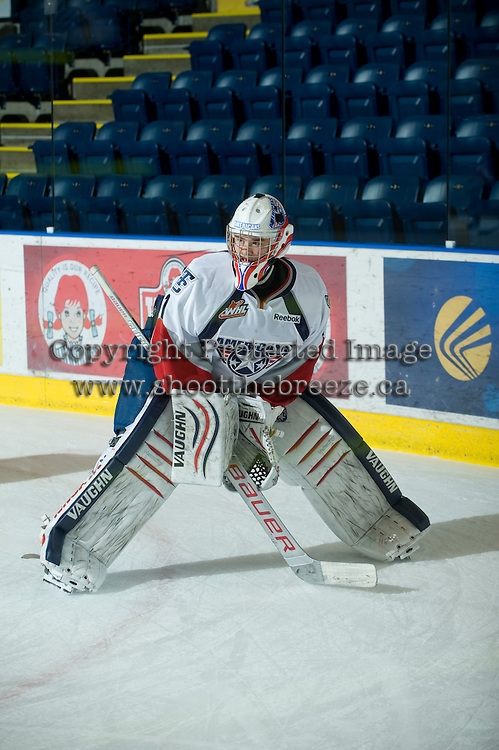 KELOWNA, CANADA, NOVEMBER 30: Eric Comrie #1 of the Tri City Americans warms up on the ice as the Tri City Americans visit the Kelowna Rockets  on November 30, 2011 at Prospera Place in Kelowna, British Columbia, Canada (Photo by Marissa Baecker/Shoot the Breeze) *** Local Caption *** Eric Comrie;
