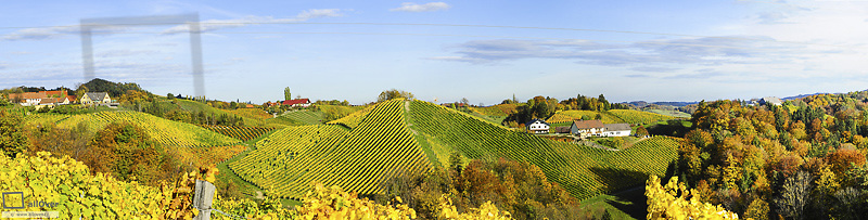 Suedsteirische Weinstrasse, Southern Styria wine route in autumn, Austria, Styria, Southern Styria