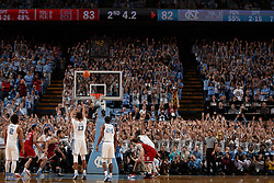 CHAPEL HILL, NC - JANUARY 27: Cameron Johnson #13 of the North Carolina Tar Heels shoots a foul shot against the North Carolina State Wolfpack that created a tie, and leading to an overtime game, on January 27, 2018 at the Dean Smith Center in Chapel Hill, North Carolina. North Carolina lost 95-91. (Photo by Peyton Williams/UNC/Getty Images) *** Local Caption *** Cameron Johnson