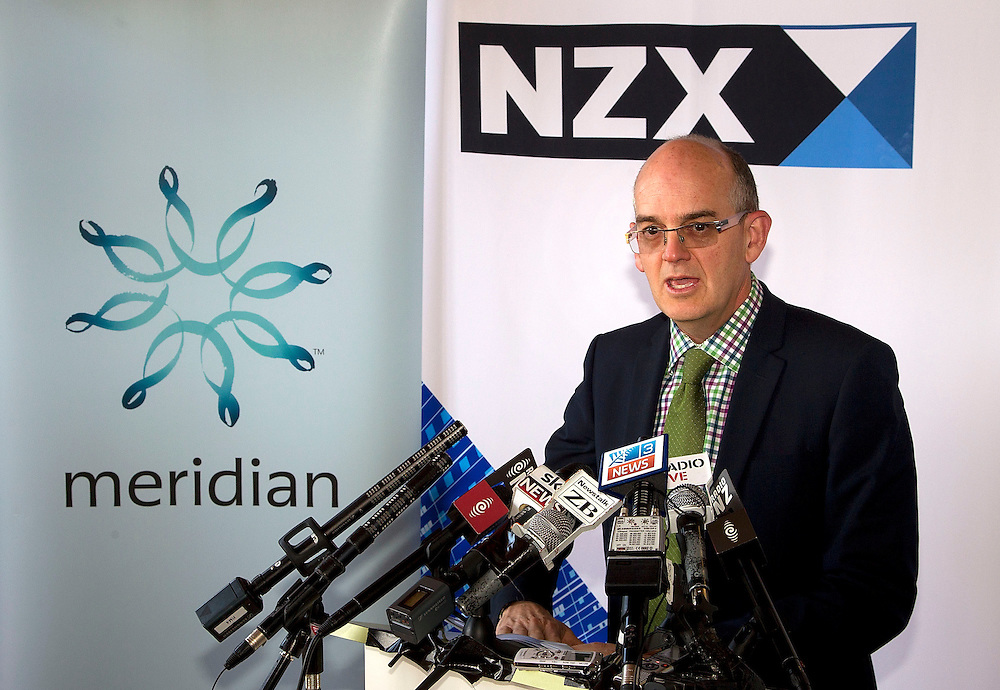 Minister for State Owned Enterprises Tony Ryall speaks to the media during the visit to the NZX for Meridian Energy float in Wellington, New Zealand, Tuesday, October 29, 2013. Credit: SNPA / Marty Melville