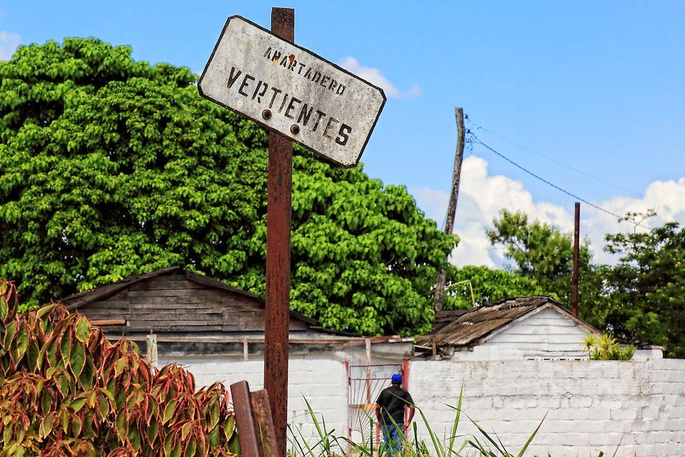 Town sign Vertientes, Camaguey, Cuba.