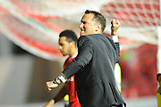 Derby County manager Darren Wassall goes to punch the air after his teams 3-2 win over Bristol City during the Sky Bet Championship match between Bristol City and Derby County at Ashton Gate, Bristol, England on 19 April 2016. Photo by Graham Hunt.