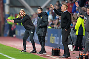 Austin MacPhee, assistant manager of Heart of Midlothian (left) shouts as his players during the 4th round of the William Hill Scottish Cup match between Heart of Midlothian and Livingston at Tynecastle Stadium, Edinburgh, Scotland on 20 January 2019.