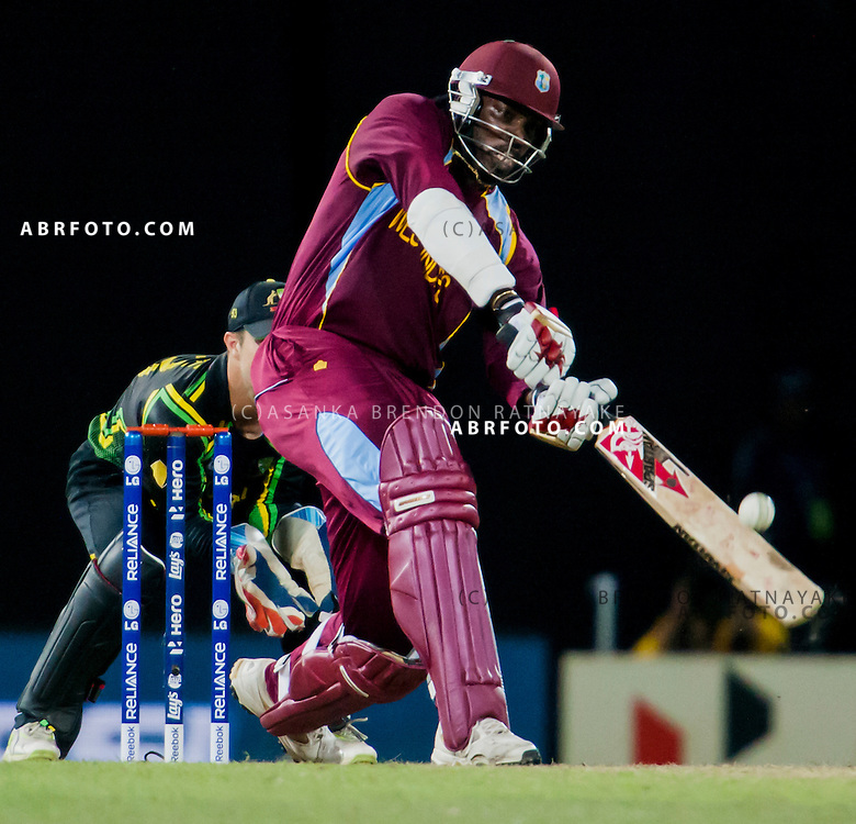 West Indian Chris Gayle batting during the World T20 Cricket Mens Semi Final match between Australia Vs West Indies at the R Premadasa International Cricket Stadium, Colombo. Photo credit : Asanka Brendon Ratnayake