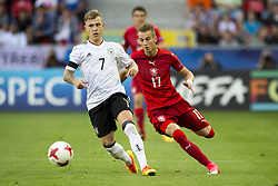 June 18, 2017 - Tychy, Poland - Max Meyer of Germany and Vaclav Cerny of Czech fight for the ball during the UEFA European Under-21 Championship 2017 Group C match between Germany and Czech Republic at Tychy Stadium in Tychy, Poland on June 18, 2017  (Credit Image: © Andrew Surma/NurPhoto via ZUMA Press)