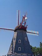 Historical, rebuilt Danish Windmill on display in Elk Horn, Iowa.