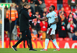 Liverpool manager Jurgen Klopp shakes hands with Michail Antonio - Mandatory by-line: Matt McNulty/JMP - 24/02/2018 - FOOTBALL - Anfield - Liverpool, England - Liverpool v West Ham United - Premier League