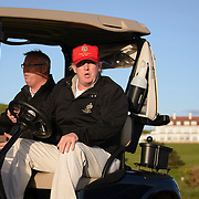 Donald Trump visit's the Turnberry Hotel, the legendary gold resort in Scotland's Ayrshire for the first time after buying it.<br /> <br /> &copy; John Linton<br /> All rights reserved