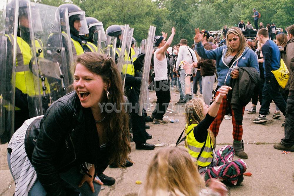 Riot Police intervene rave, Free Party Scene, Bristol, UK, 1990s.